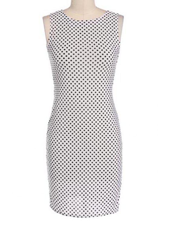 hot Jewel Neck Polka Dot Backless Sleeveless Dress - WHITE S