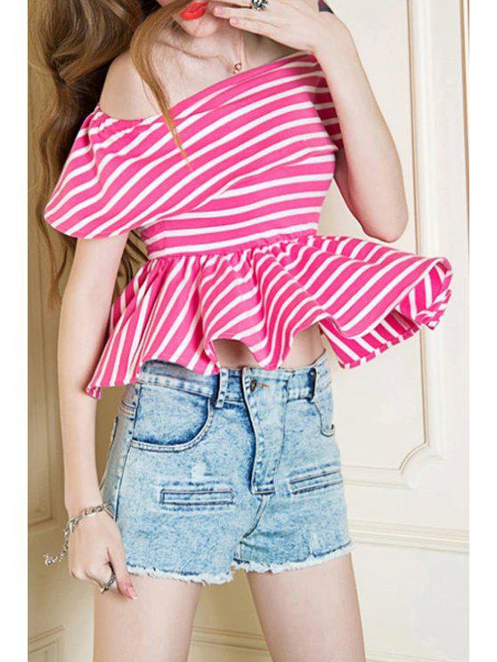 best Slash Neck Stripe T-Shirt - PINK AND WHITE S