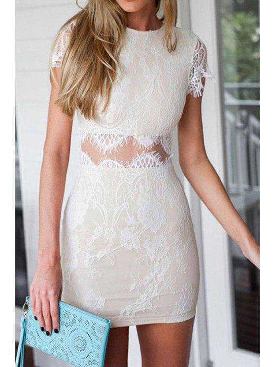 buy Waist See-Through Short Sleeve Dress - WHITE ONE SIZE(FIT SIZE XS TO M)