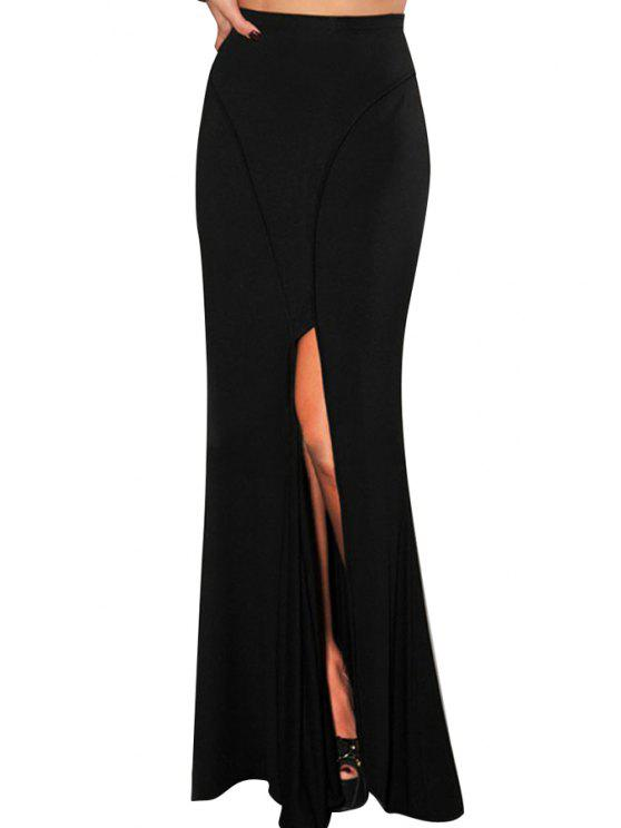 women Solid Color High Slit Long Skirt - BLACK ONE SIZE(FIT SIZE XS TO M)