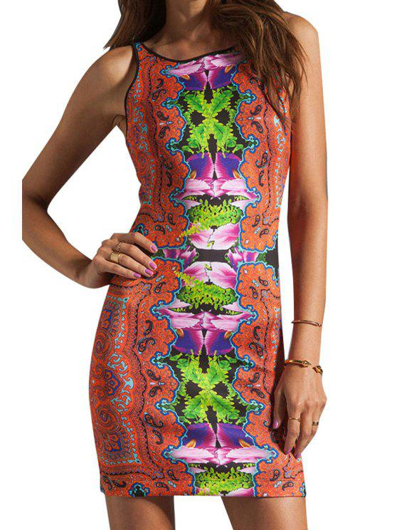 sale Color Block Print Backless Sleeveless Dress - JACINTH M