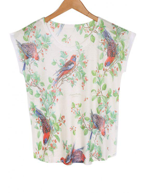 fashion Short Sleeve Birds Print T-Shirt - WHITE ONE SIZE(FIT SIZE XS TO M)