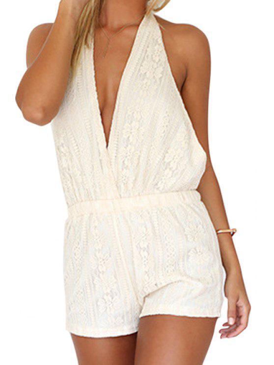 best White Lace Halter Open Back Romper - WHITE S
