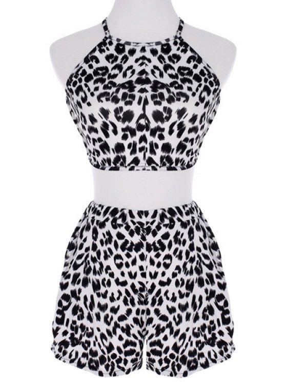 new Crop Top and Leopard Print Shorts Suit - LEOPARD S
