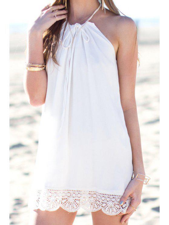 lady White Lace Spliced Spaghetti Strap Dress - WHITE S