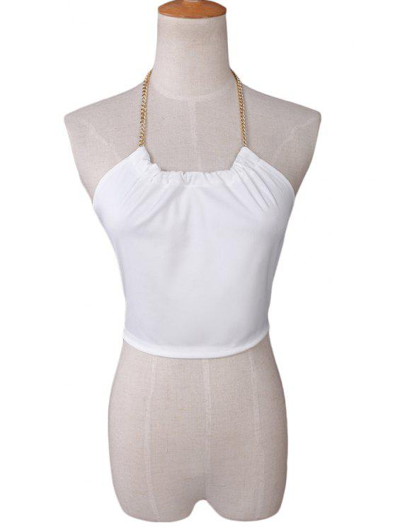 hot White Chain Halter Crop Top - WHITE S
