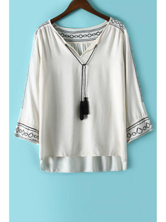 unique Argyle Embroidery Tassel Long Sleeve Shirt - WHITE S