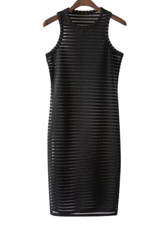 affordable Stripe See-Through Sleeveless Dress - BLACK S
