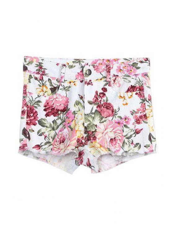 women Floral Print Zipper Fly Shorts - WHITE S