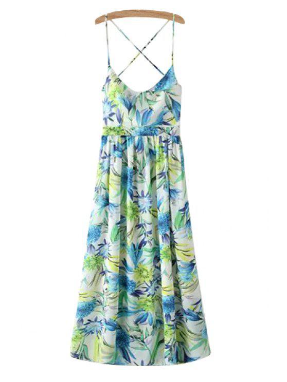 fashion Floral Print Spaghetti Strap Sleeveless Maxi Dress - GREEN S