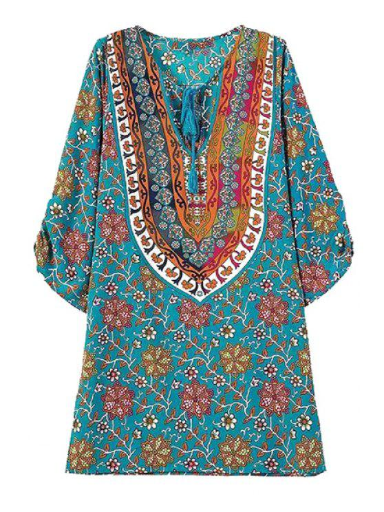 affordable Tie-Up Floral Print Color Block 3/4 Sleeve Dress - BLUE S