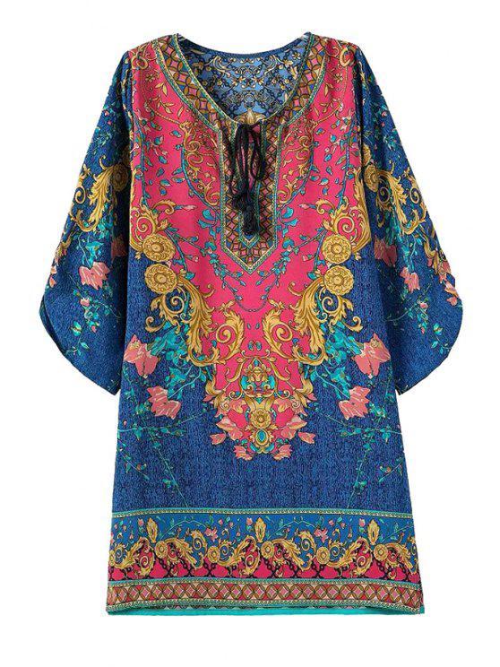 outfit Tie-Up Color Block Floral Print  3/4 Sleeve Dress - COLORMIX M
