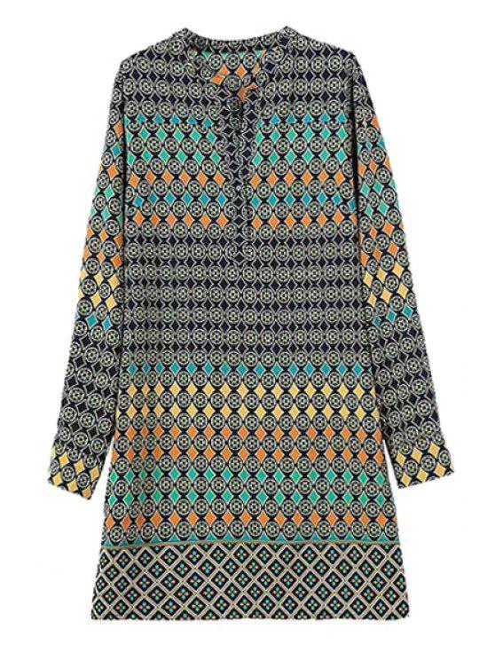 shop Color Block Round Pattern Long Sleeve Dress - COLORMIX S