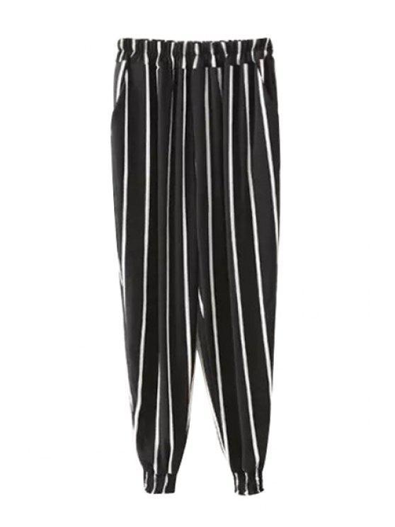 women Elastic Waist Stripe Harem Pants - STRIPE S