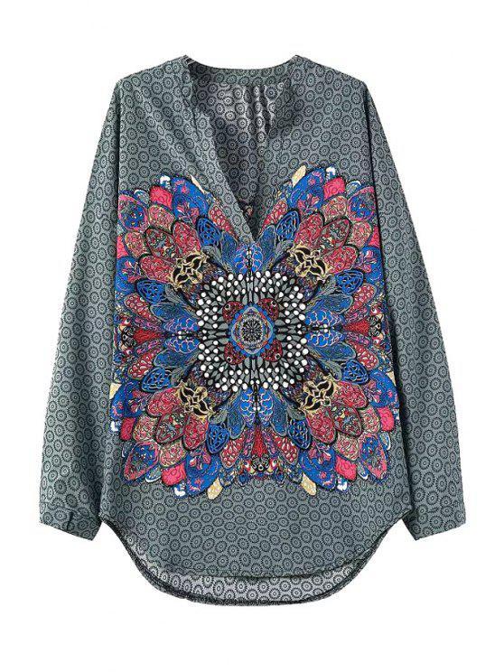 hot Color Block Print Long Sleeve Shirt - COLORMIX S