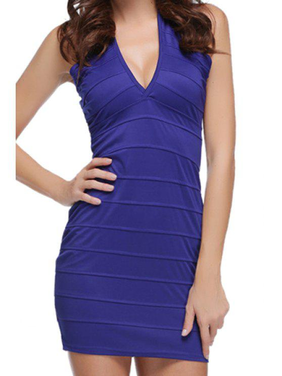 women Blue Plunging Neck Bodycon Dress - BLUE S