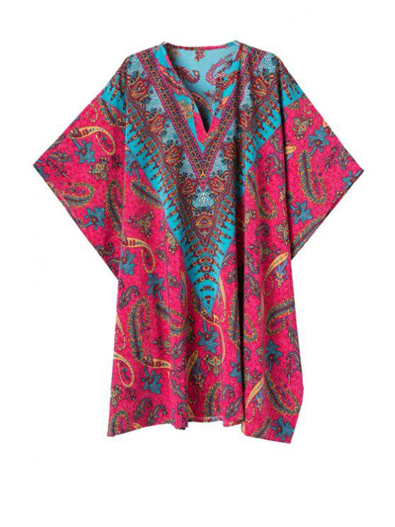trendy Color Block Paisley Print Half Sleeve Dress - RED S