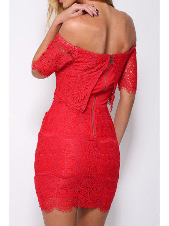 latest Slash Neck Solid Color Lace Short Sleeve Dress - RED ONE SIZE(FIT SIZE XS TO M)