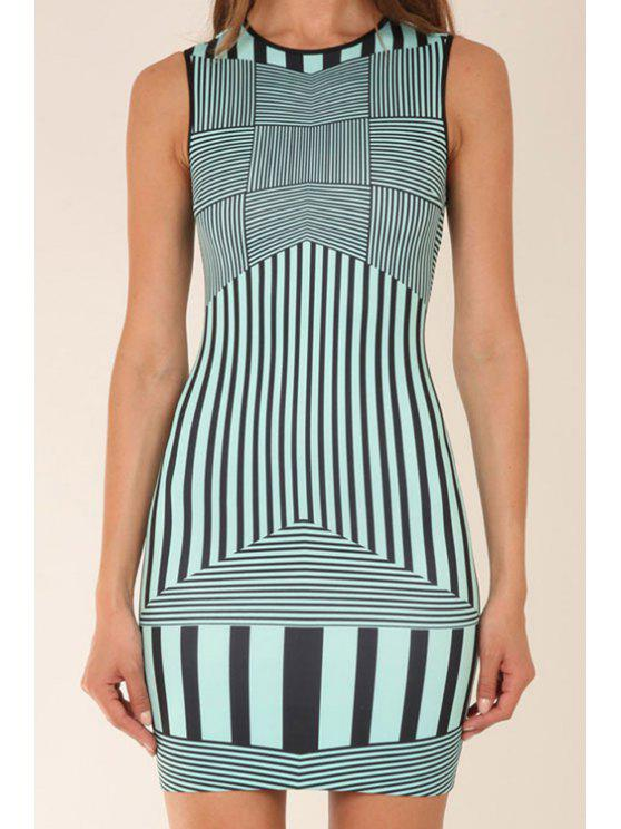 affordable Stripe Color Block Sleeveless Dress - BLACK AND GREEN M