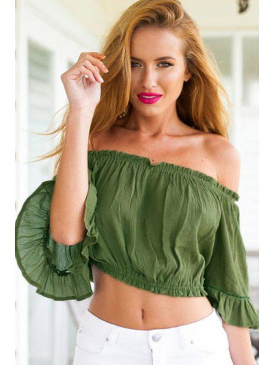 affordable Solid Color Flounce Short Sleeve Crop Top - GREEN ONE SIZE(FIT SIZE XS TO M)
