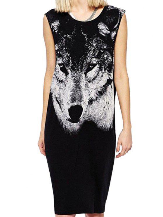 affordable Wolf Print Scoop Neck Sundress - BLACK S