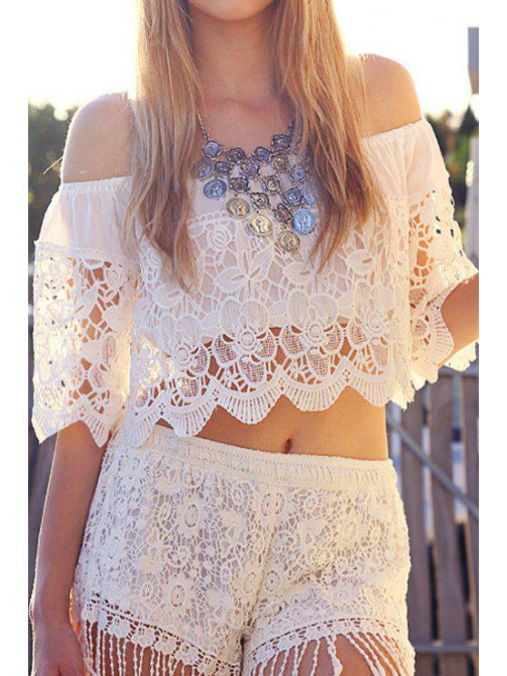 affordable White Lace Slash Neck Half Sleeve Blouse - WHITE M