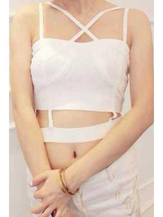 new Spaghetti Strap Cross Openwork Tank Top - WHITE ONE SIZE(FIT SIZE XS TO M)