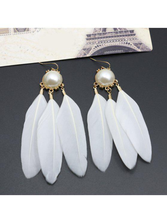 sale Pair of Cute Faux Pearl Feather Pendant Earrings For Women - WHITE