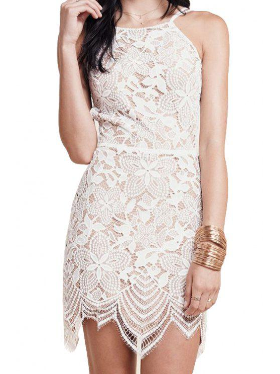 trendy White Lace Backless Spaghetti Strap Dress - WHITE S