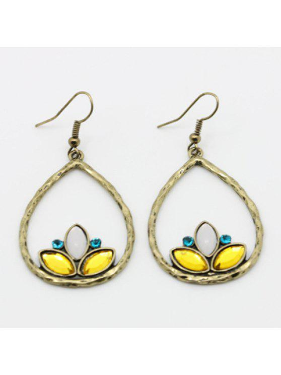 chic Pair of Fashion Rhinestone Drop Pendant Earrings For Women - GOLDEN