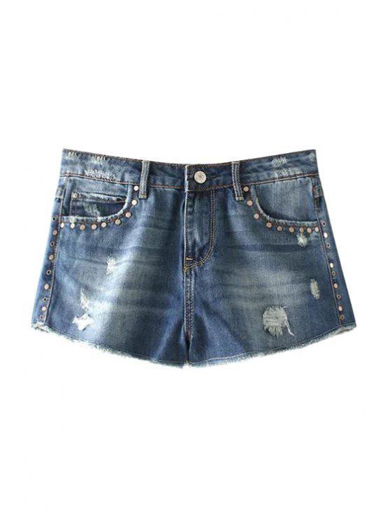 fashion Destroy Wash Rivet Embellished Denim Shorts - BLUE 34