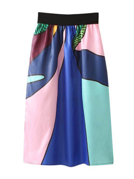 shops Color Block Splicing Side Slit Long Skirt - COLORMIX S