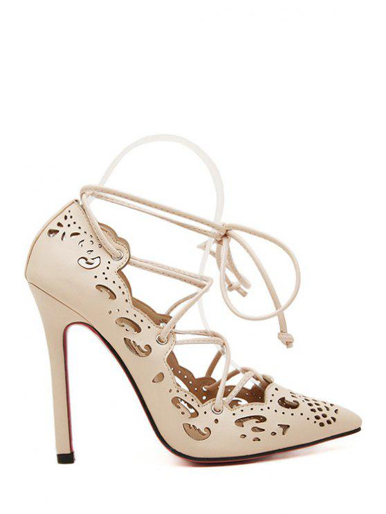outfit Solid Color Hollow Out Lace-Up Pumps - APRICOT 38