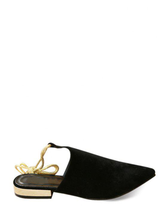 outfits Pointed Toed Slingback Lace-Up Flat Shoes - BLACK 35