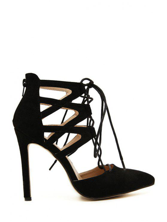 outfit Pointed Toed Solid Color Lace-Up Pumps - BLACK 38