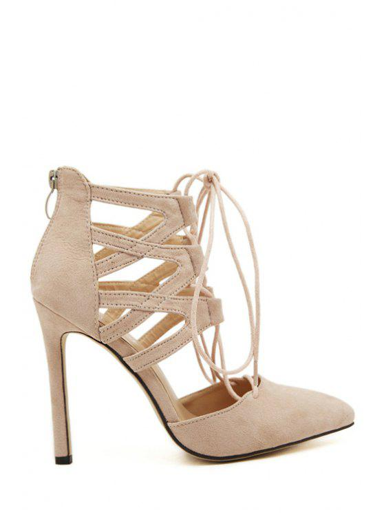 Wies Toed Solid Color Lace-Up Pumps - Aprikose 36