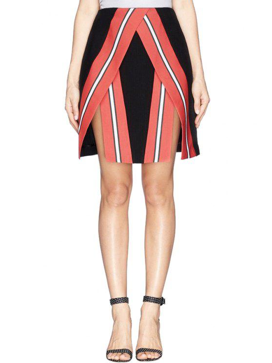 women Stripe A-Line Skirt - RED WITH BLACK S