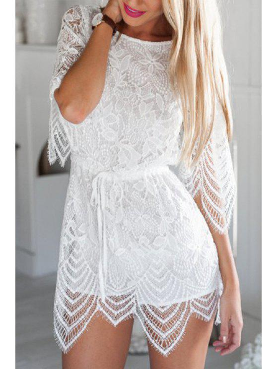 shop Floral Pattern Lace Asymmetrical Half Sleeve Romper - WHITE S