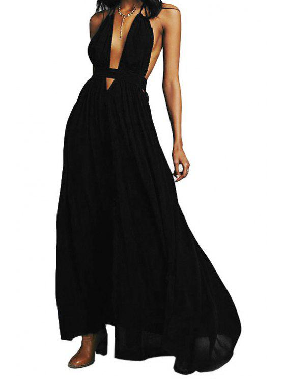 ladies Black Spaghetti Strap Maxi Dress - BLACK S