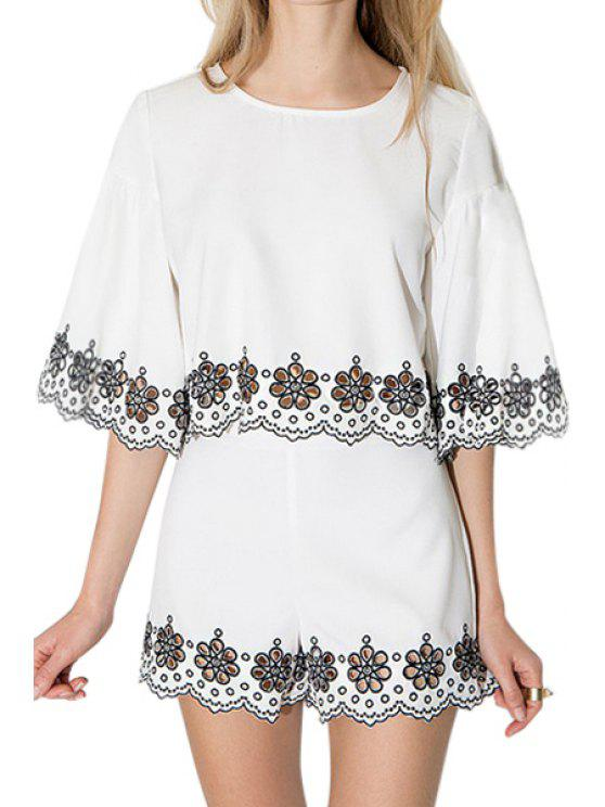 women's Floral Embroidery Openwork Half Sleeve Blouse - WHITE L