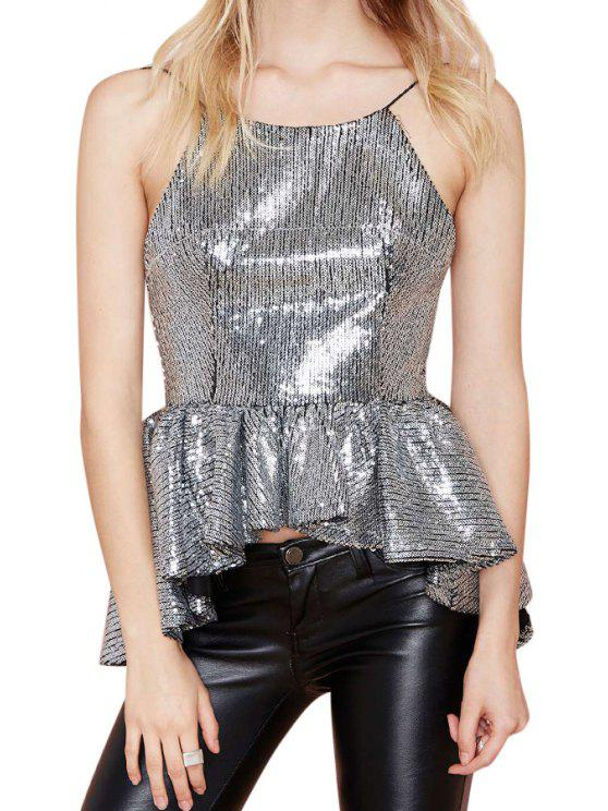 womens Backless Sequins Asymmetrical Tank Top - SILVER M