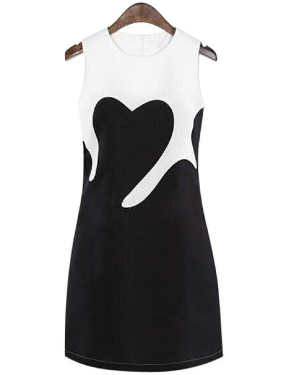 sale Color Block Sleeveless Dress - WHITE AND BLACK L