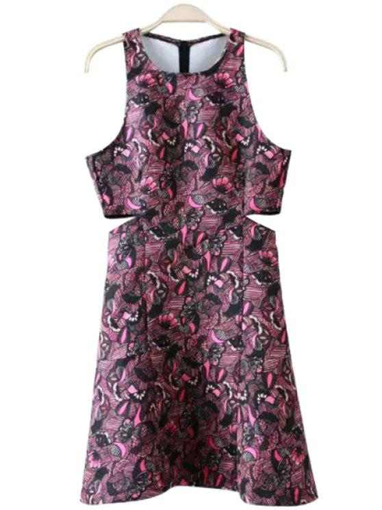 trendy Floral Print Hollow Out Sleeveless Dress - COLORMIX S