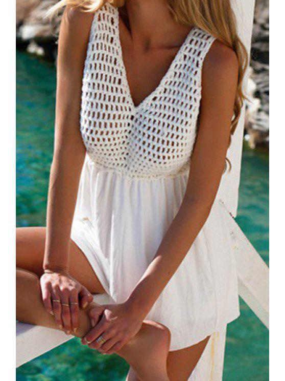 outfits Mesh Solid Color Sleeveless Romper - WHITE S