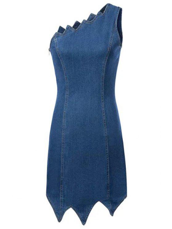 chic One Shoulder Asymmetrical Edging Denim Dress - LIGHT BLUE S