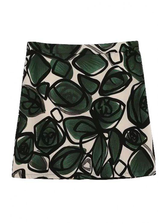 new Green Floral Print Zipper Fly Skirt - GREEN S