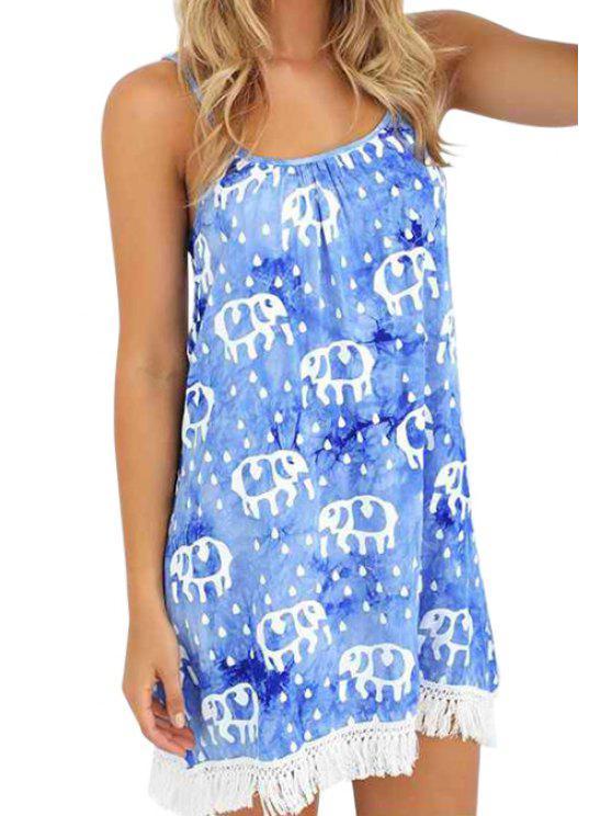 women Elephant Print Spaghetti Strap Dress - ICE BLUE M