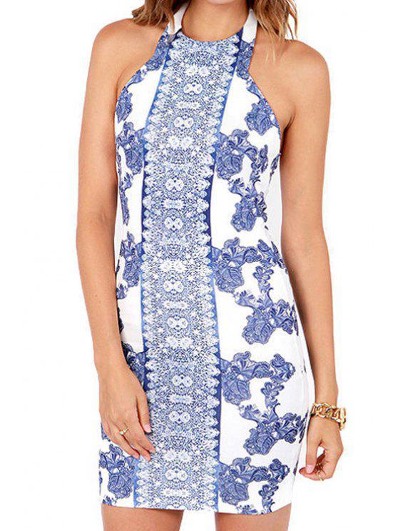 shop Halter Neck Backless Blue Floral Print Dress - LIGHT BLUE S