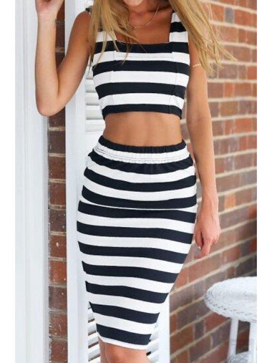 sale Sleeveless Crop Top and Stripe Skirt Suit - STRIPE S