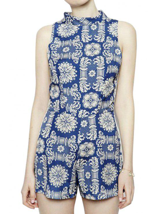 fashion Print Sleeveless Stand-Up Collar Romper - BLUE AND WHITE S